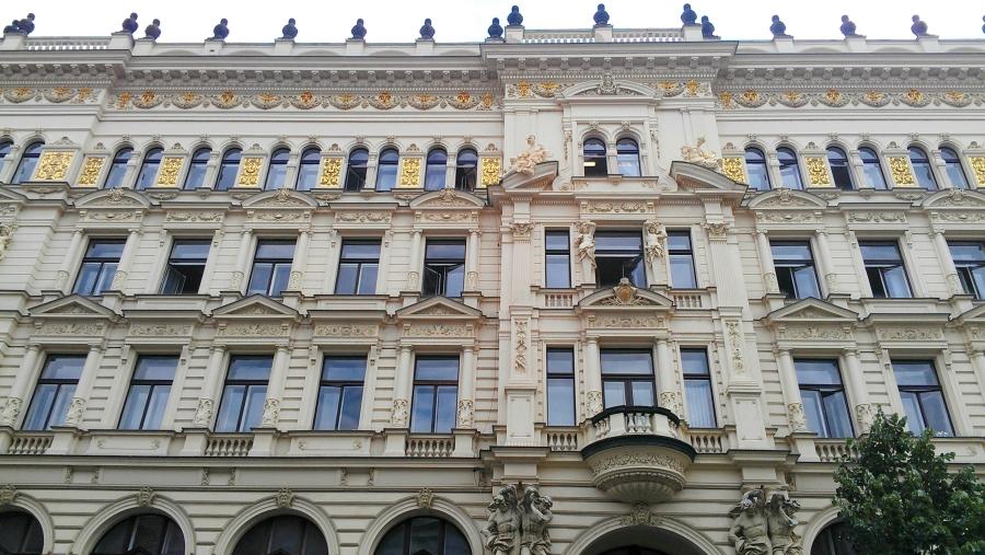 Architectural detail along a street in Prague, Czech Republic.