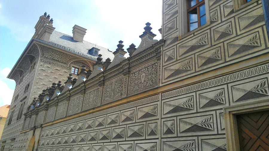 Architectural design detail of Schwarzenbersky Palac, Prague, Czech Republic.