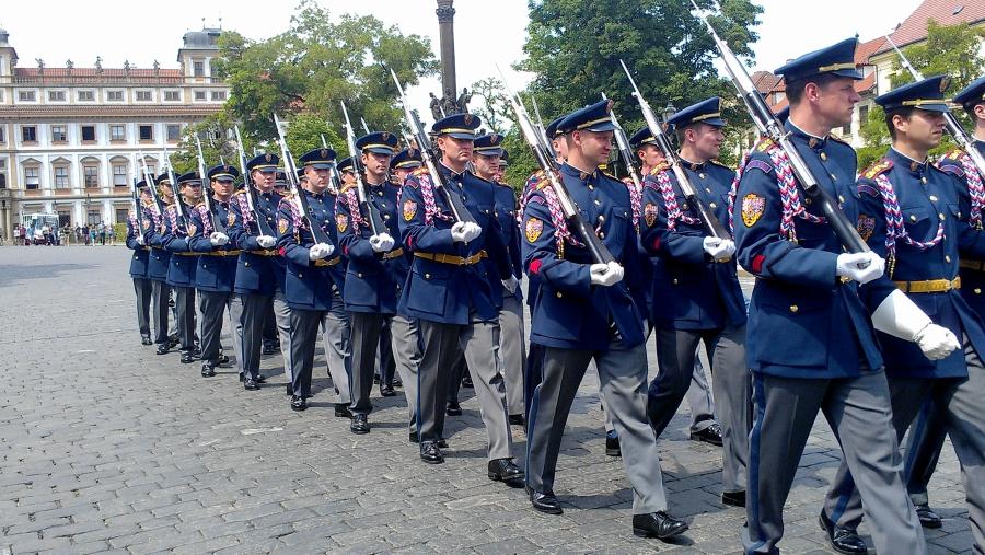 The Changing of the Guard ceremony at Prague Castle, Prague, Czech Republic.