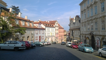 A sunny street in Prague, Czech Republic.