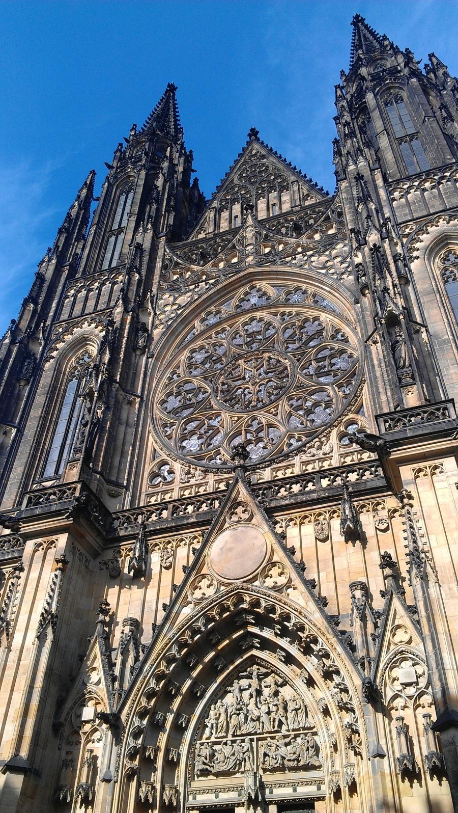 St. Vitus's Cathedral facade, Prague, Czech Republic.