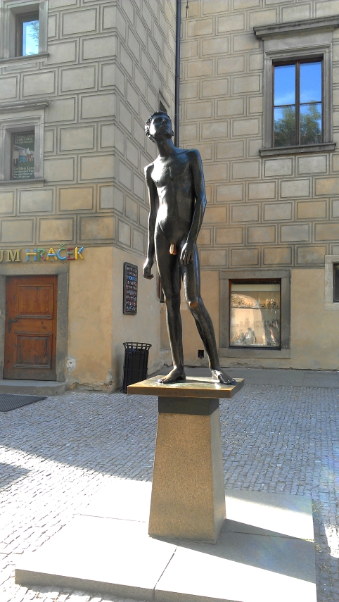 A statue of a boy, Prague, Czech Republic.