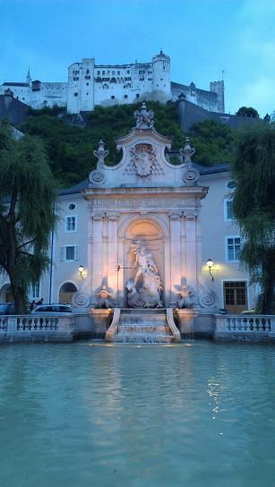 Kapitelschwemme Horse Well in Kapitelplatz Square, Salzburg, Austria.