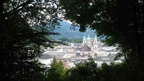 View of Salzburg from a hike to Fortress Hohensalzburg, Salzburg, Austria.