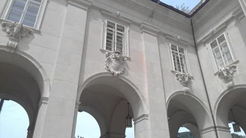 Outside archways of Salzburg Cathedral, Salzburg, Austria.