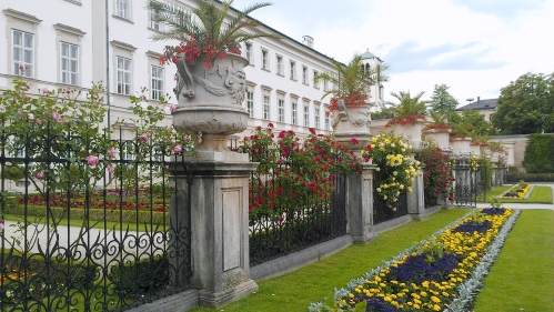 Gates and flower planters at Mirabell Gardens, Salzburg, Austria.