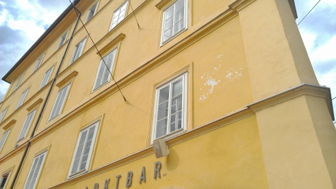 Architectural lines on a yellow building in Innsbrook, Austria.
