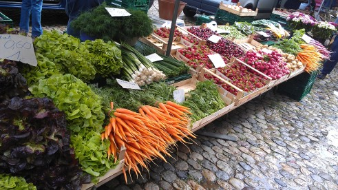 Produce for sale at the farmer's market in Münsterplatz, Freiburg, Germany.