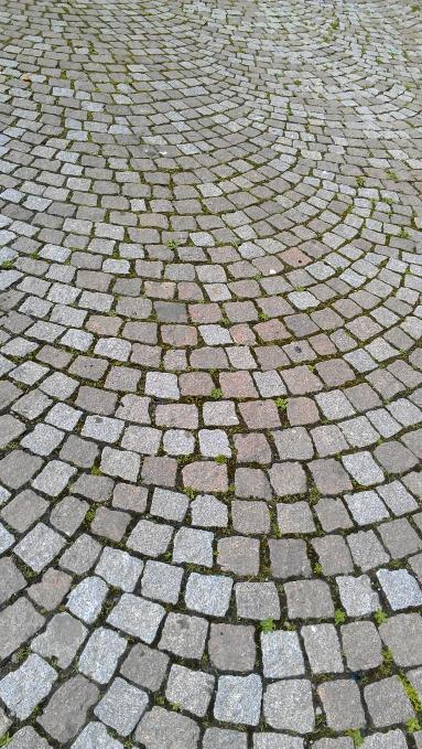 A cobblestone street, Freiburg, Germany.