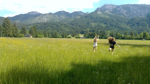 Running through a field in Bavaria, Germany.