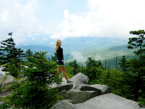 Climbing rocks near Clingmans Dome in the Great Smoky Mountains National Park.