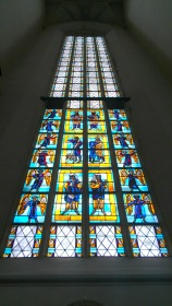 Stained glass windows in Ulm Minster, Ulm, Germany.
