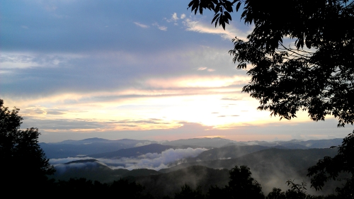 A cool, cloudy sunset at Balsam Mountain in the Great Smoky Mountains National Park.