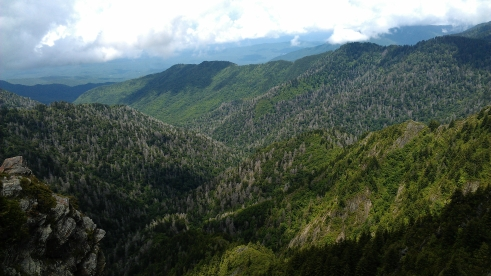 The view from Charlies Bunion in the Great Smoky Mountains National Park.