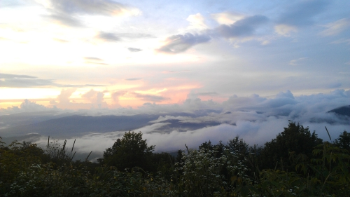 A cloudy sunset at Balsam Mountain in the Great Smoky Mountains National Park.