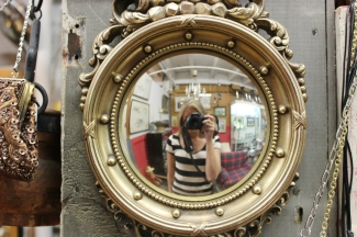 Vintage mirror at River Market Antique Mall in the River Market, Kansas City, MO.