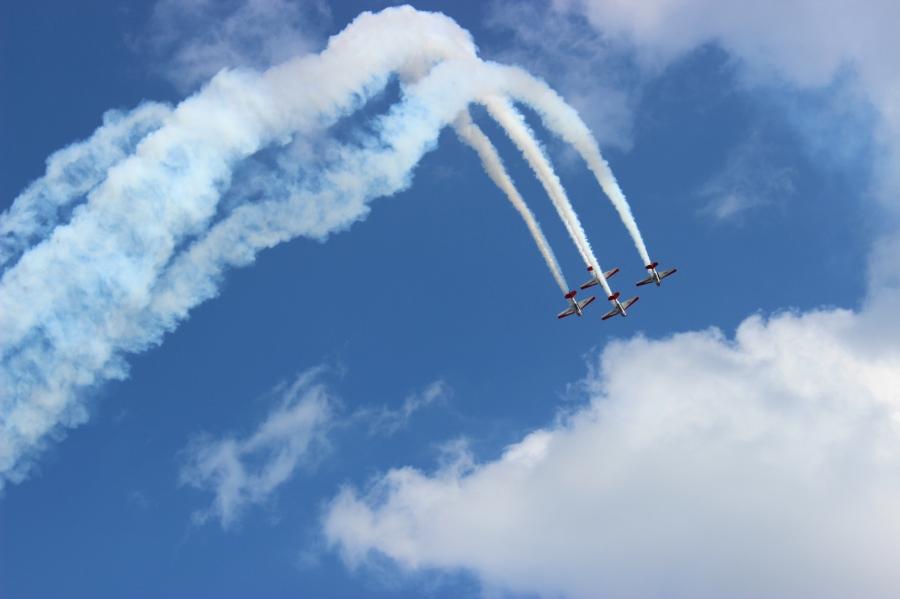 Airplanes and trails from the Air Show at Fair Saint Louis, Saint Louis.