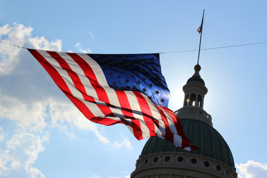 American flag blowing in the sky in front of the Old Courthouse, Saint Louis.