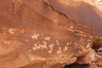 Petroglyphs in Arches National Park.