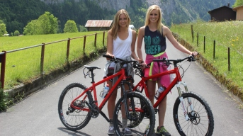 Biking from Interlaken to Lauterbrunnen.