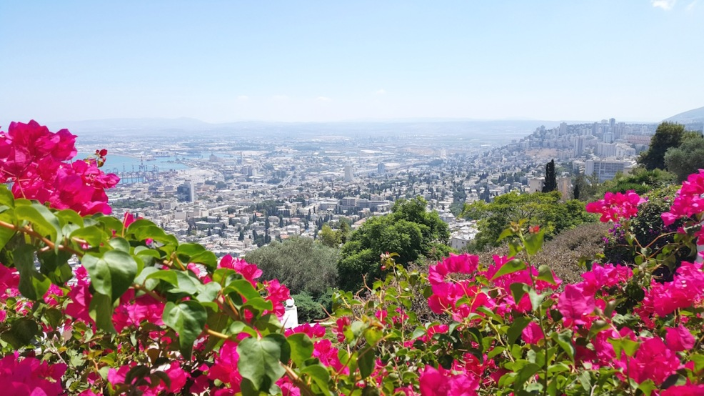 View of Haifa from the Bahá'í Gardens gates.